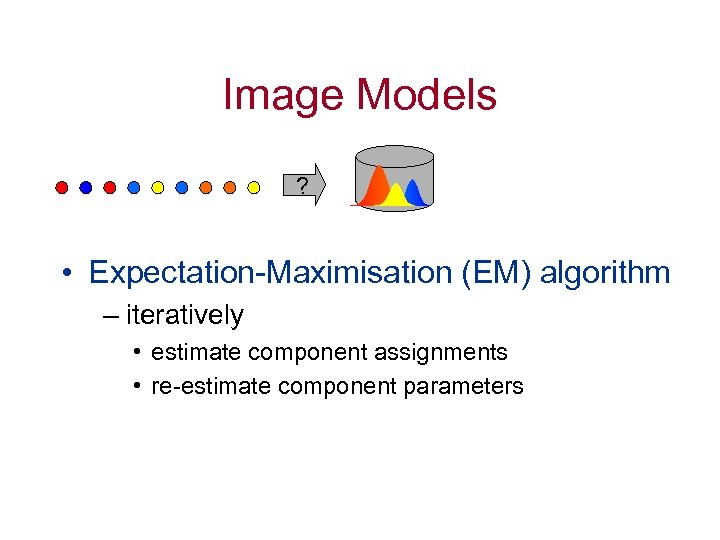 Image Models ? • Expectation-Maximisation (EM) algorithm – iteratively • estimate component assignments •