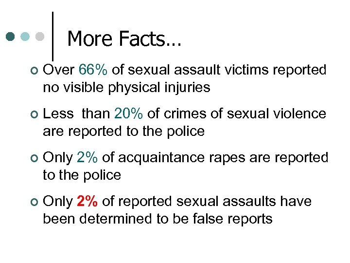 More Facts… ¢ Over 66% of sexual assault victims reported no visible physical injuries
