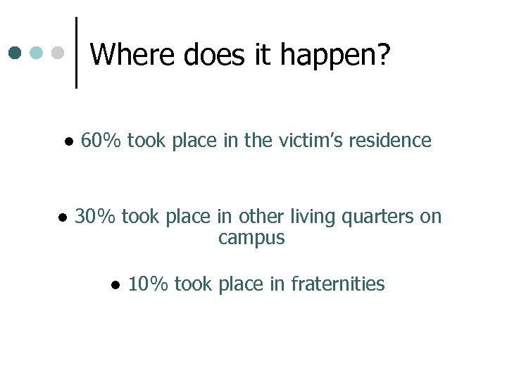 Where does it happen? l l 60% took place in the victim's residence 30%