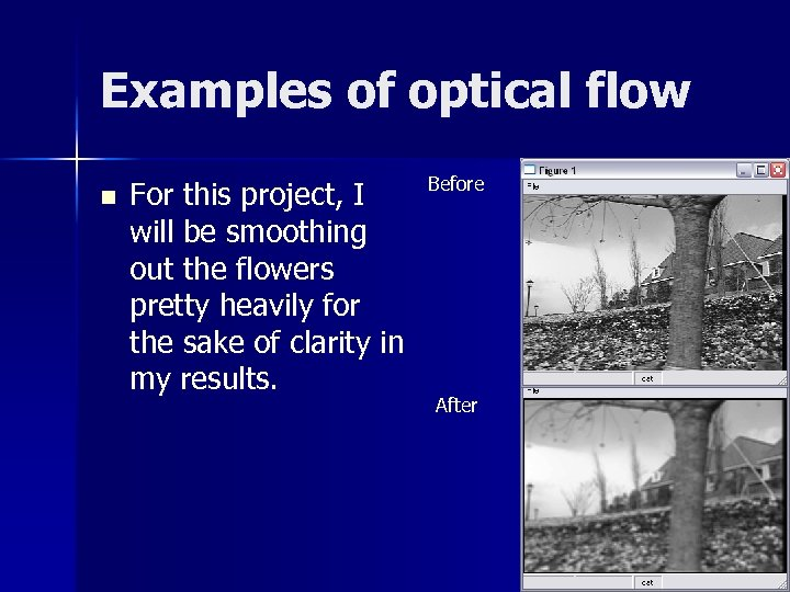 Examples of optical flow n For this project, I will be smoothing out the
