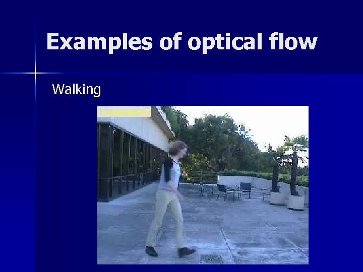 Examples of optical flow Walking