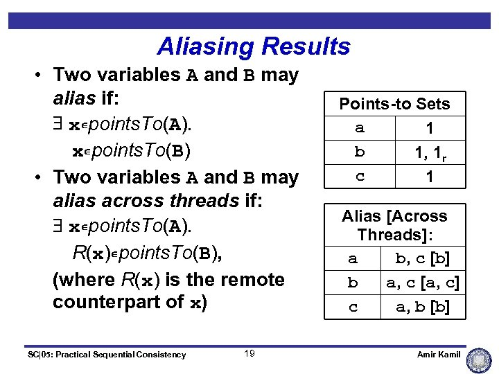 Aliasing Results • Two variables A and B may alias if: $ xÎpoints. To(A).