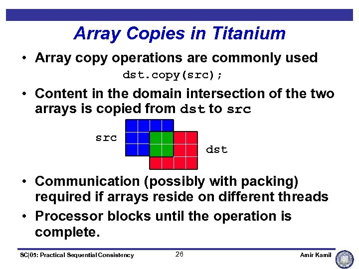 Array Copies in Titanium • Array copy operations are commonly used dst. copy(src); •