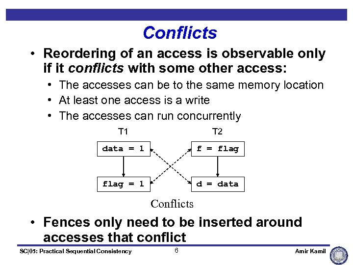 Conflicts • Reordering of an access is observable only if it conflicts with some