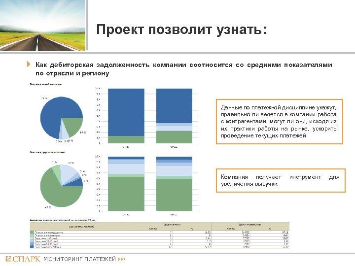 Проект позволит узнать: Как дебиторская задолженность компании соотносится со средними показателями по отрасли и