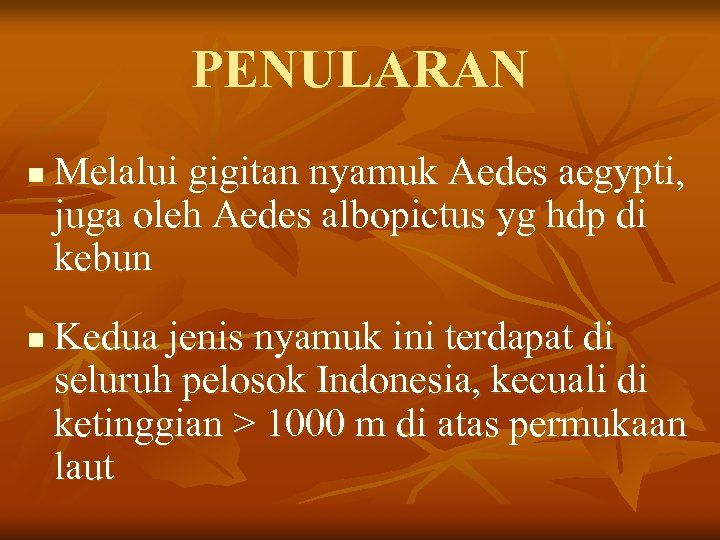 PENULARAN n n Melalui gigitan nyamuk Aedes aegypti, juga oleh Aedes albopictus yg hdp