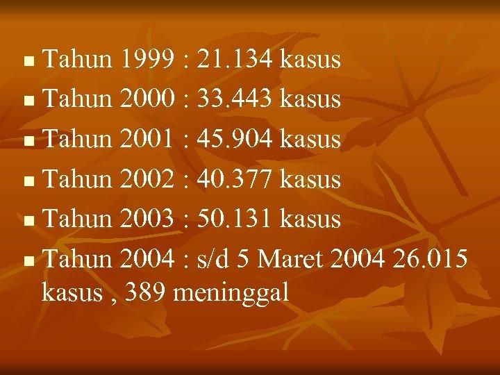 Tahun 1999 : 21. 134 kasus n Tahun 2000 : 33. 443 kasus n
