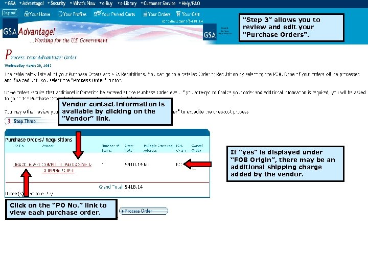 """Step 3"" allows you to review and edit your ""Purchase Orders"". Vendor contact information"