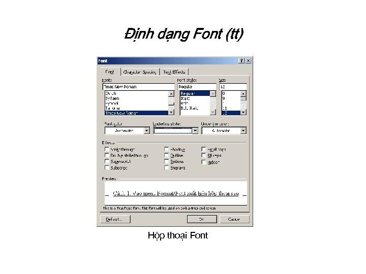 Định dạng Font (tt) Hộp thoại Font