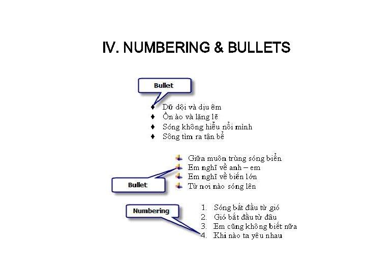 IV. NUMBERING & BULLETS