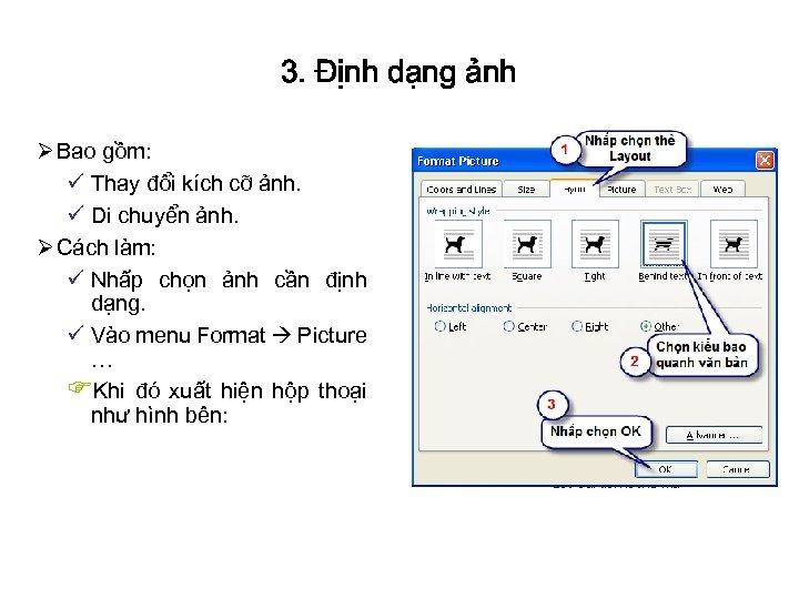 3. Định dạng ảnh Ø Bao gồm: ü Thay đổi kích cỡ ảnh. ü