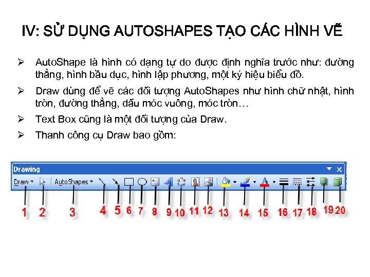 IV: SỬ DỤNG AUTOSHAPES TẠO CÁC HÌNH VẼ Ø Auto. Shape là hình có