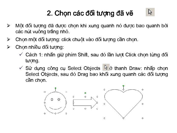 2. Chọn các đối tượng đã vẽ Ø Một đối tượng đã được chọn