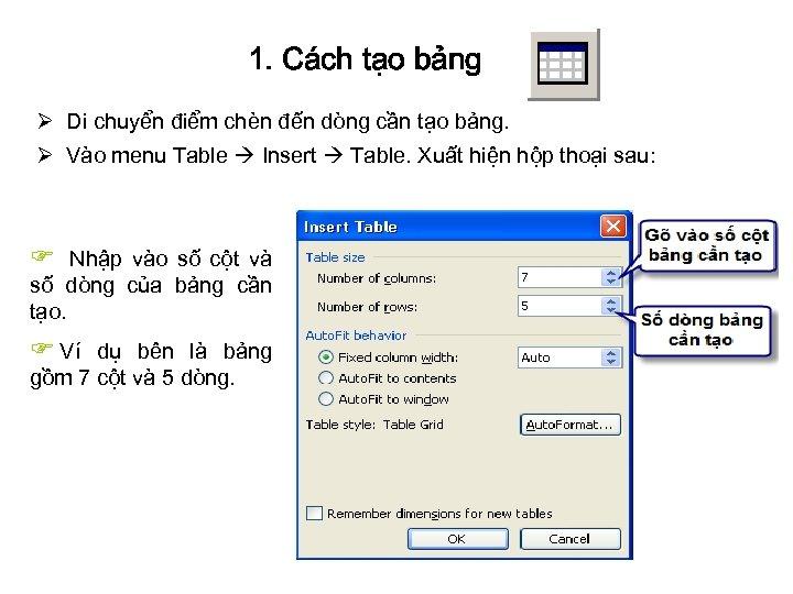 1. Cách tạo bảng Ø Di chuyển điểm chèn đến dòng cần tạo bảng.