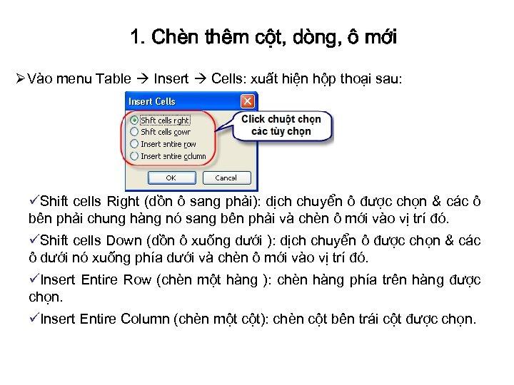 1. Chèn thêm cột, dòng, ô mới ØVào menu Table Insert Cells: xuất hiện