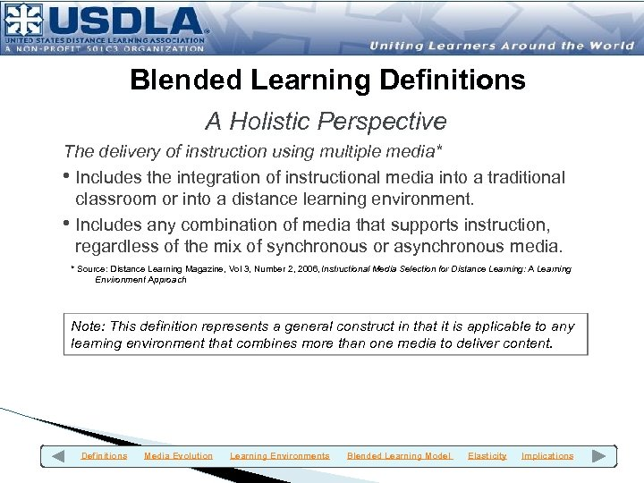 Blended Learning Definitions A Holistic Perspective The delivery of instruction using multiple media* •