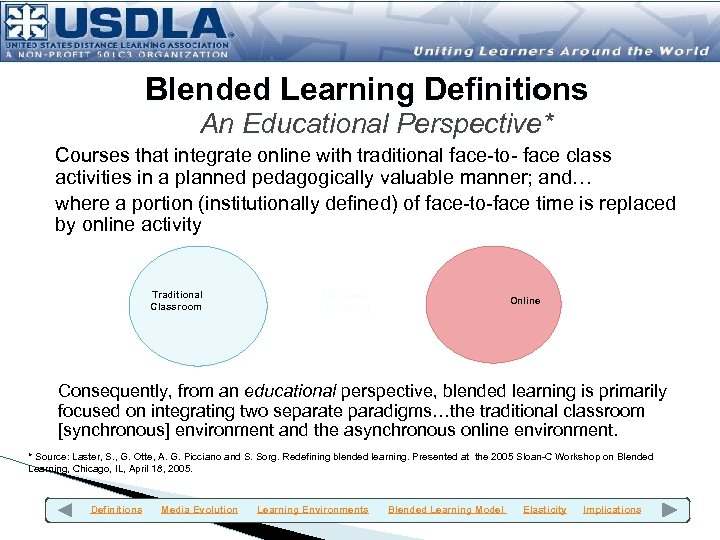 Blended Learning Definitions An Educational Perspective* Courses that integrate online with traditional face-to- face
