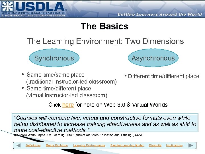 The Basics The Learning Environment: Two Dimensions Synchronous Asynchronous • Same time/same place •