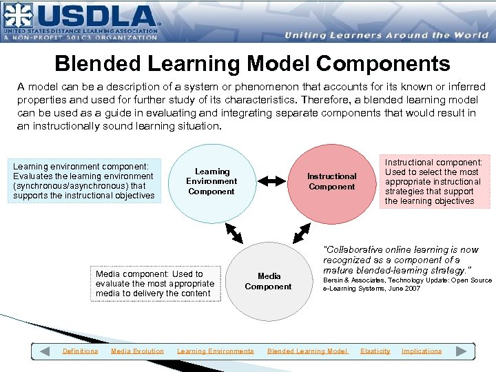 Blended Learning Model Components A model can be a description of a system or