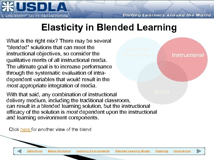"Elasticity in Blended Learning What is the right mix? There may be several ""blended"""