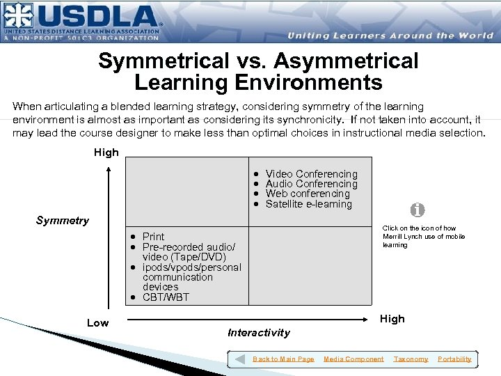 Symmetrical vs. Asymmetrical Learning Environments When articulating a blended learning strategy, considering symmetry of