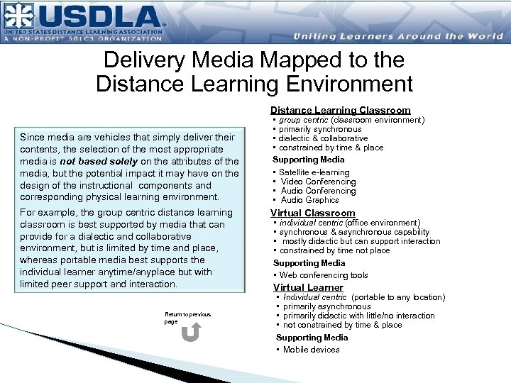 Delivery Media Mapped to the Distance Learning Environment Distance Learning Classroom Since media are