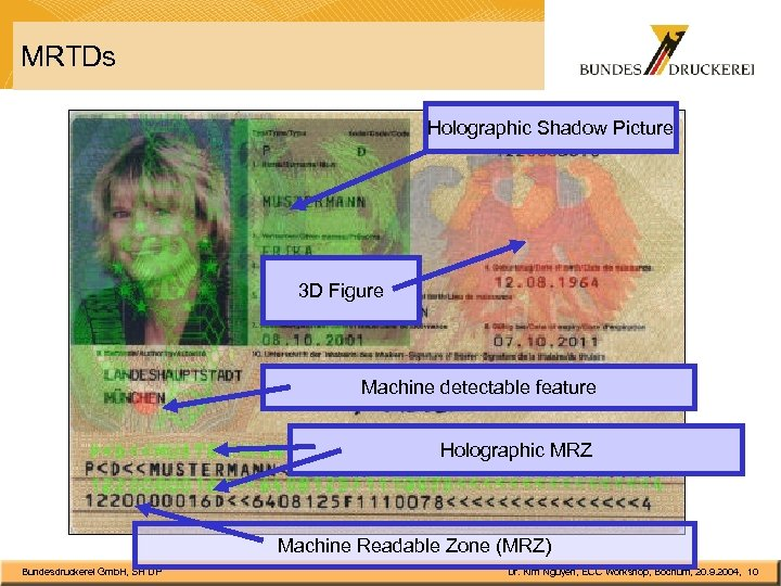 MRTDs Holographic Shadow Picture 3 D Figure Machine detectable feature Holographic MRZ Machine Readable