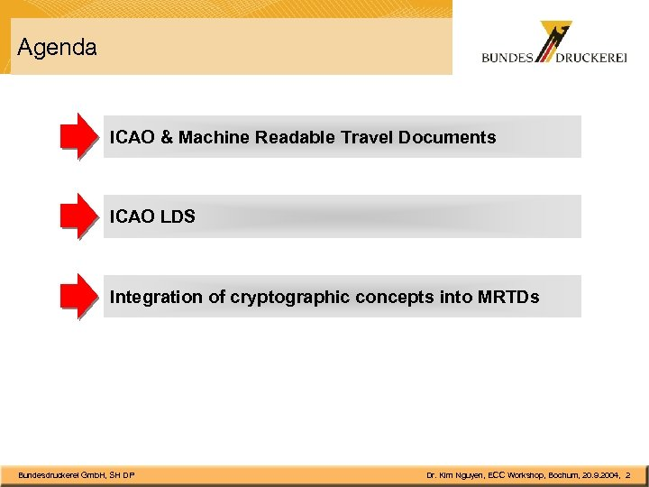 Agenda ICAO & Machine Readable Travel Documents ICAO LDS Integration of cryptographic concepts into