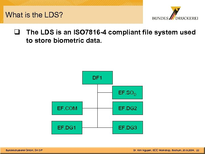 What is the LDS? q The LDS is an ISO 7816 -4 compliant file