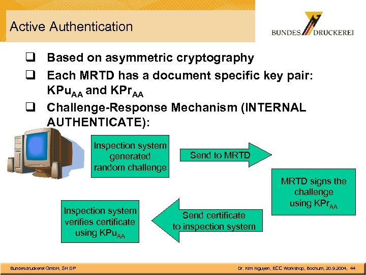 Active Authentication q Based on asymmetric cryptography q Each MRTD has a document specific