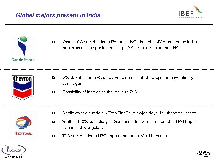 Global majors present in India q Owns 10% stakeholder in Petronet LNG Limited, a