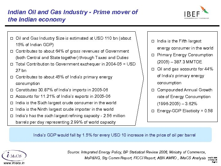 Indian Oil and Gas Industry - Prime mover of the Indian economy ¨ Oil