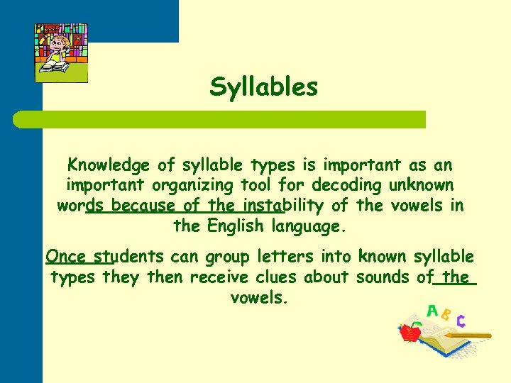 Syllables Knowledge of syllable types is important as an important organizing tool for decoding