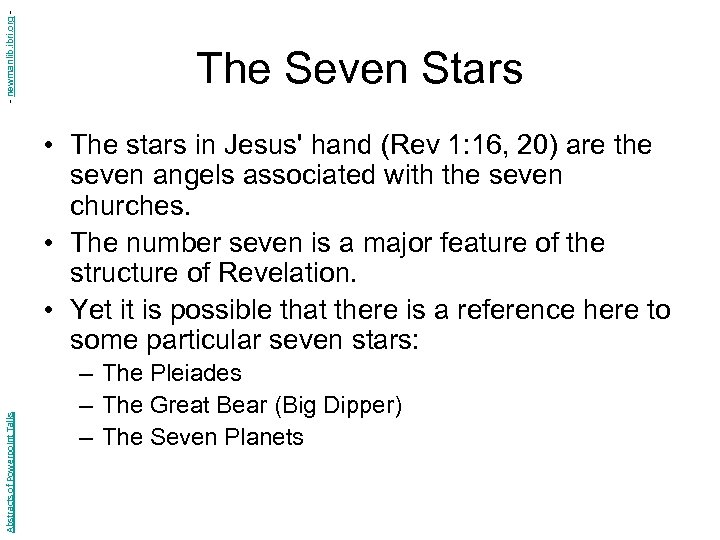 - newmanlib. ibri. org - The Seven Stars Abstracts of Powerpoint Talks • The