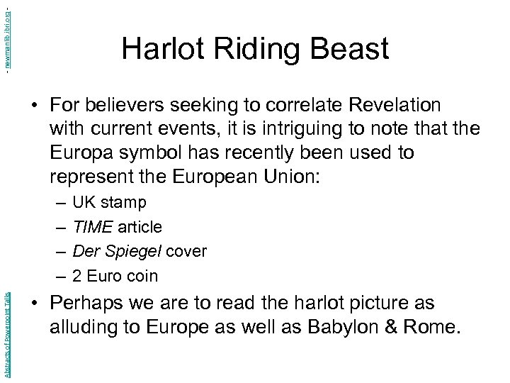 - newmanlib. ibri. org - Harlot Riding Beast • For believers seeking to correlate