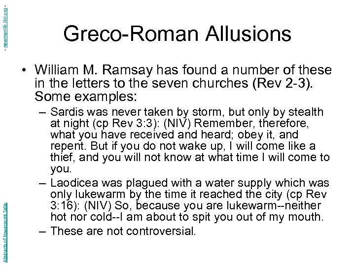 - newmanlib. ibri. org - Greco-Roman Allusions Abstracts of Powerpoint Talks • William M.