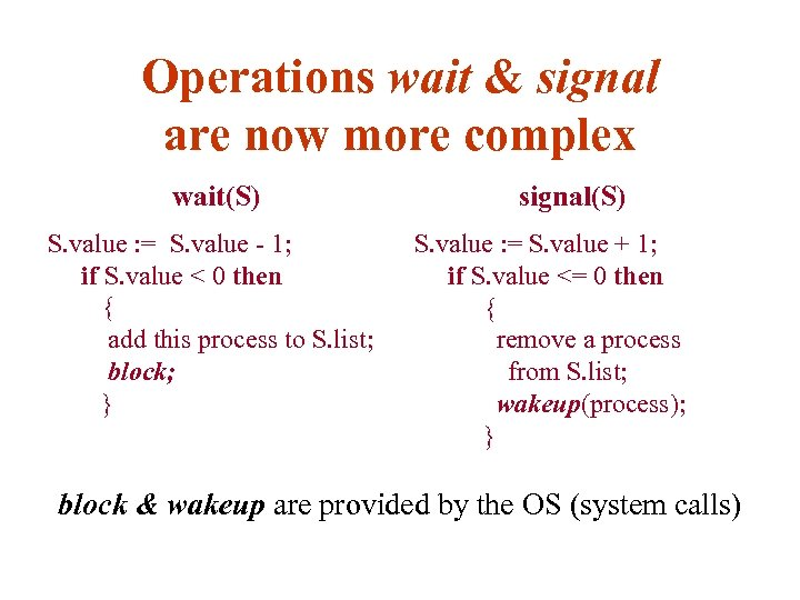 Operations wait & signal are now more complex wait(S) S. value : = S.
