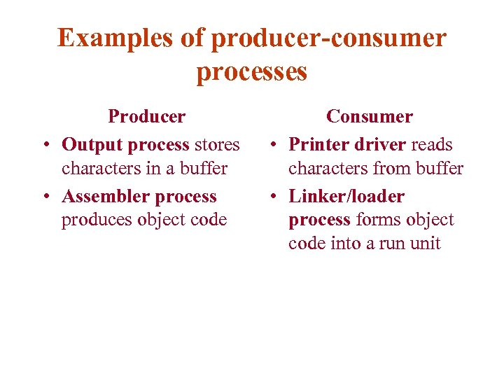 Examples of producer-consumer processes Producer • Output process stores characters in a buffer •