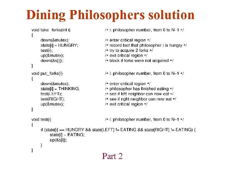 Dining Philosophers solution Part 2