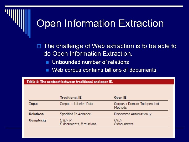 Open Information Extraction o The challenge of Web extraction is to be able to