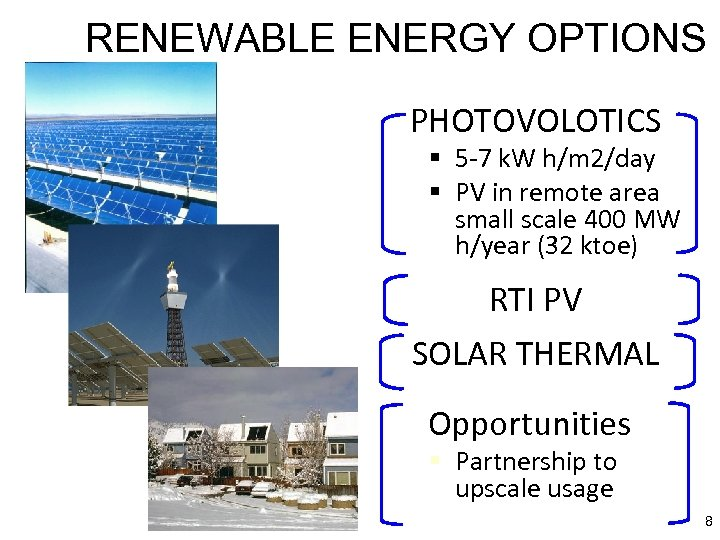 RENEWABLE ENERGY OPTIONS PHOTOVOLOTICS § 5 -7 k. W h/m 2/day § PV in