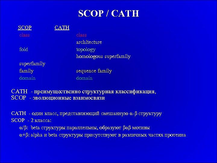 SCOP / CATH SCOP class fold superfamily domain CATH class architecture topology homologous superfamily