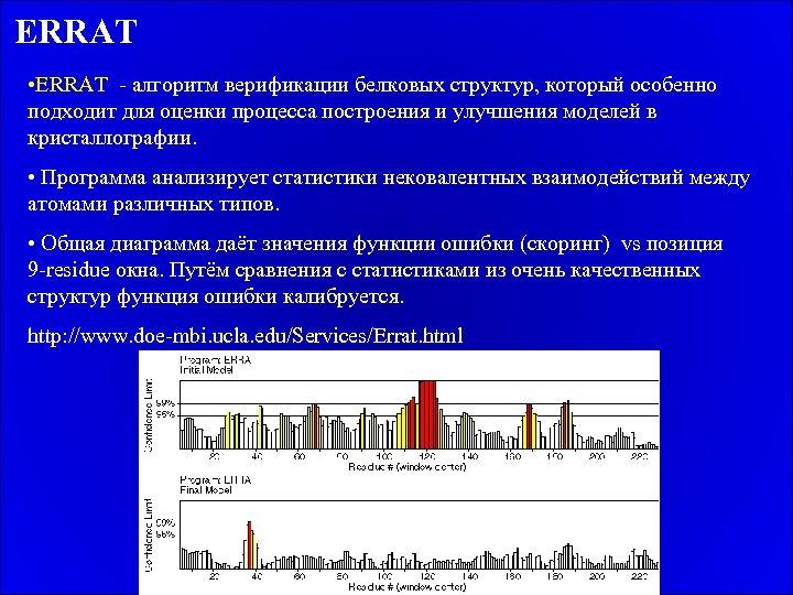 ERRAT • ERRAT - алгоритм верификации белковых структур, который особенно подходит для оценки процесса