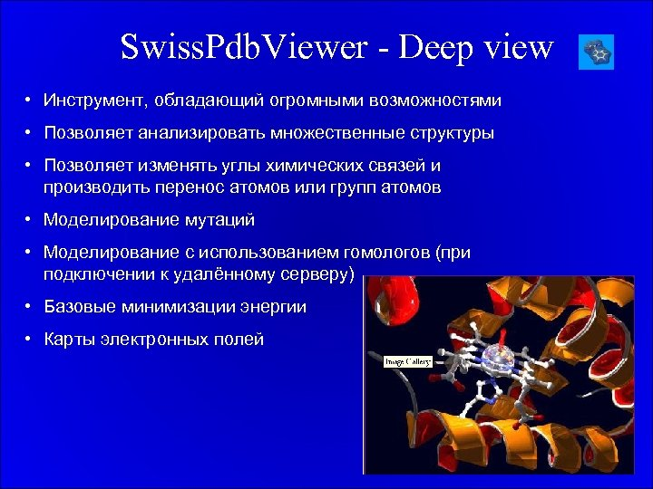Swiss. Pdb. Viewer - Deep view • Инструмент, обладающий огромными возможностями • Позволяет анализировать