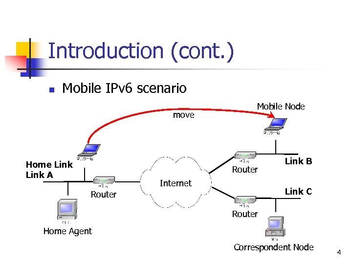 Introduction (cont. ) n Mobile IPv 6 scenario move Home Link A Mobile Node