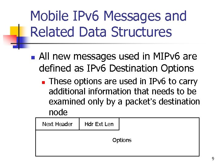 Mobile IPv 6 Messages and Related Data Structures n All new messages used in