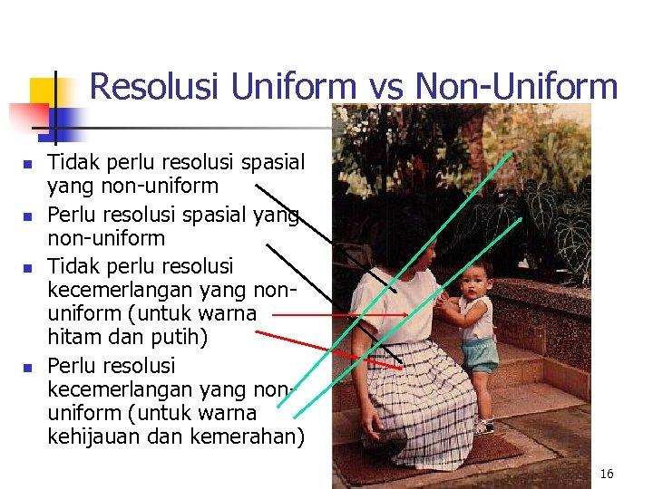 Resolusi Uniform vs Non-Uniform n n Tidak perlu resolusi spasial yang non-uniform Perlu resolusi