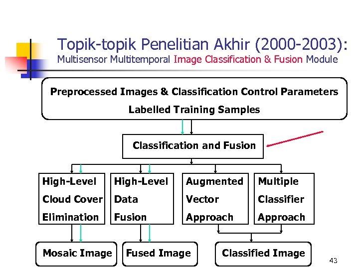 Topik-topik Penelitian Akhir (2000 -2003): Multisensor Multitemporal Image Classification & Fusion Module Preprocessed Images