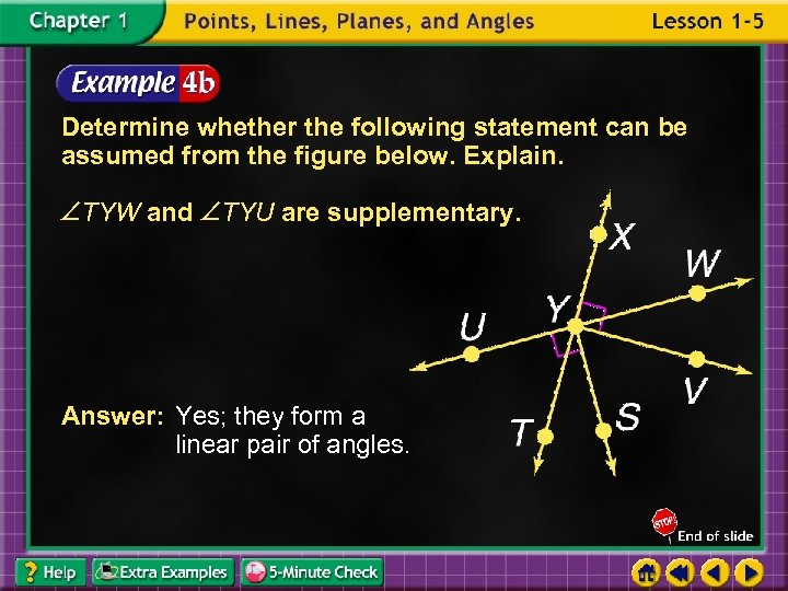 Determine whether the following statement can be assumed from the figure below. Explain. TYW