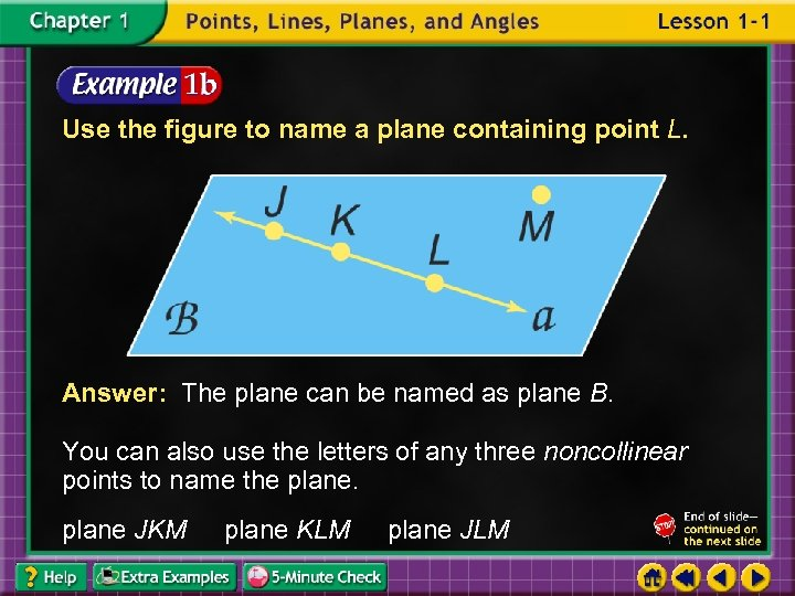 Use the figure to name a plane containing point L. Answer: The plane can